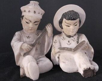 SALE-Vintage sitting Chinese couple figurines