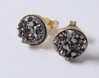 Druzy earrings - Faux druzy stud earrings - Silver druzy stud - Bridesmaids earrings - Bridal jewelry - Friendship gift - Everyday jewelry