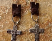 Bohemian Cowgirl Hammered Silver Cross and Leather Earrimgs