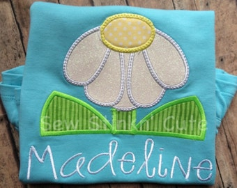 Personalized Appliqued/Embroidered Daisy Shirt