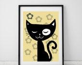black cat - artprint - retro