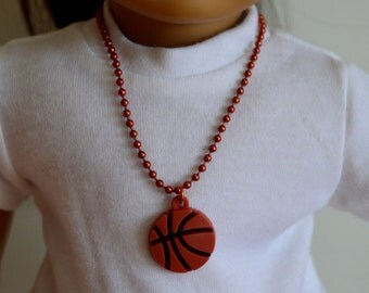 "18 Inch Doll Jewelry, 18"" Doll Necklace, Handmade, Copper Color Ball Chain Doll Necklace, Basketball Rubber Charm, Magnet Clasp Closure"