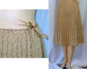 S 1930s Vintage Hand Crocheted Lace Skirt Neutral Small