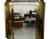 Huge Art Deco Style Tiered Brass and Chrome Curtis Jere Wall Mirror - Signed
