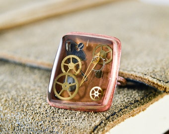 Handcrafted Ring- Copper ring- Steampunk ring- Copper & Cogs-