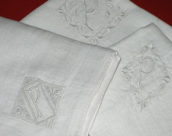 SALE 18.00 3 vintage embroidered handkerchiefs initial P hanky white cotton embroidery letter monogram