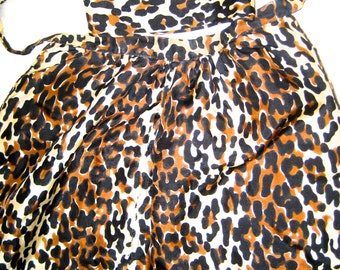 Vintage 40s 50s leopard print silky halter top with neck scarf Pin up Rockabilly