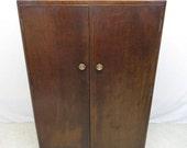 Antique Art Deco Golden Tiger Oak 2 Door Gentleman's Wardrobe Armoire Tall Boy
