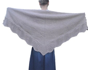 Tan Shawl with Lace Edge, Hand Knit, Light Brown, Prayer Shawl Wrap, Thick & Warm,Chunky