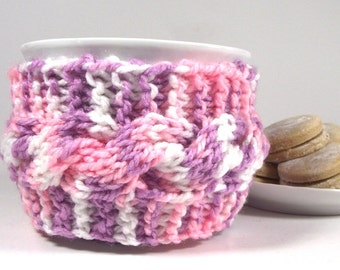 KNITTING PATTERN COZY Cup holder - Lazy Morning - cozy Coffee Cup Cable Knit Mug Sleeve Pattern Tea holder Pattern Pdf File Instant Download