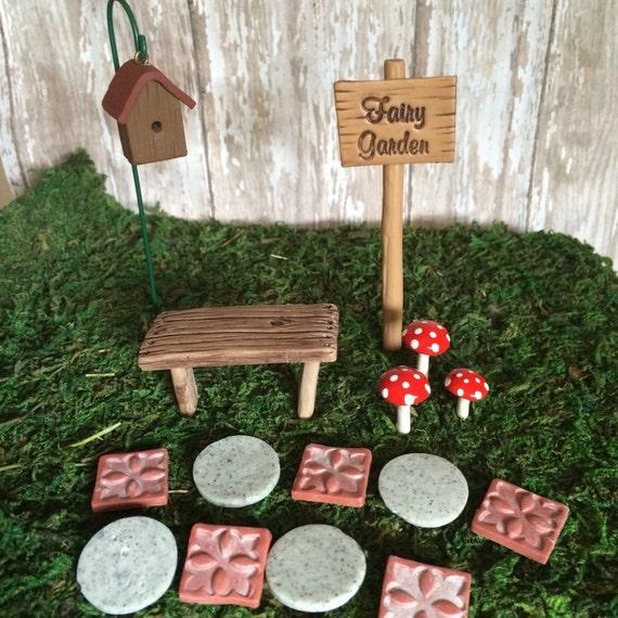 Miniature Fairy Garden Kit Terrarium Miniatures Sign Stepping