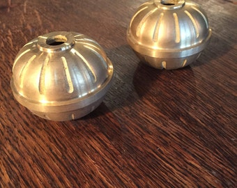 Pair of NOS Cast Brass Two Piece Balls - Vintage Lamp Parts - Lighting Design