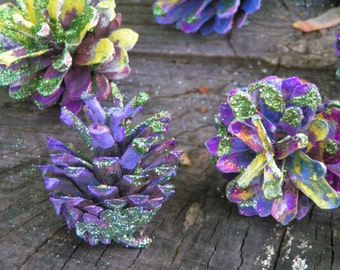 Sparkling Fairy Fantasy Purple Violet Pine Cones***Hand Painted Set of 12***Wedding Table Decorations, Celebrations, Home Holiday Beauty