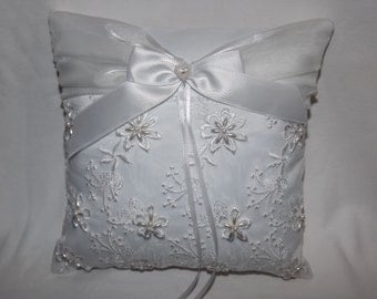 Elegant Beaded Wedding Ring Bearer Pillow