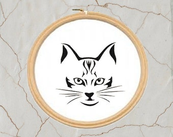 Cat Shaded Cross Stitch, PDF, Instant Download