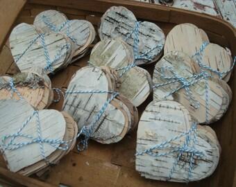 BIRCH BARK HEARTS  all natural hand cut ooak organic (30)