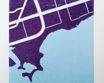"Original reduction linocut block print - Toronto Neighbourhood Series: ""The Beach"" - limited edition block print (6 x 6"" - unframed)"