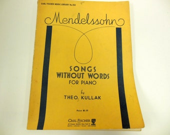 Vintage Music Book Mendelssohn For Piano 1960 Scrapbooking Crafting Carl Fischer Library No.310