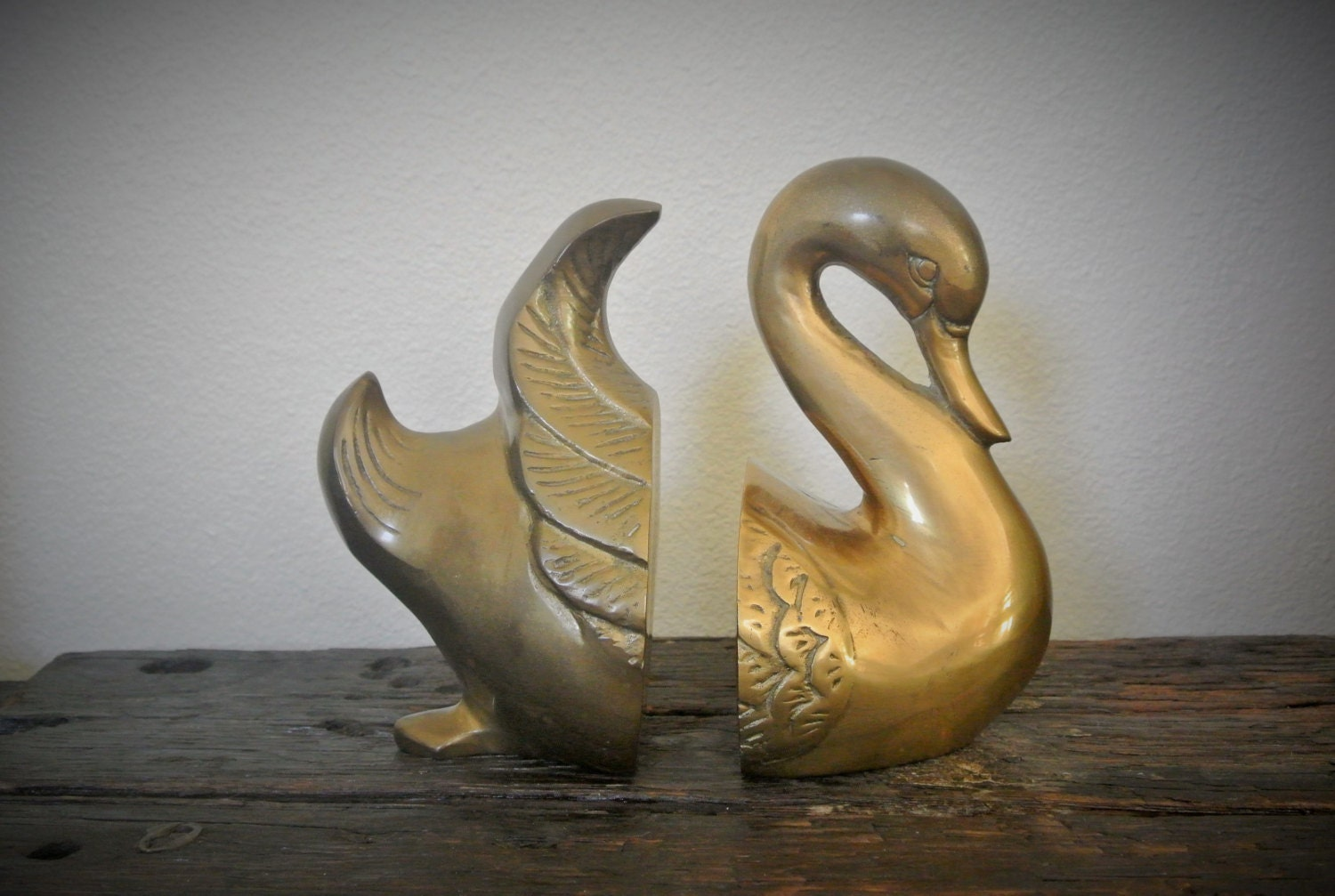 vintage brass large swan bookends by pepeandcarols on etsy