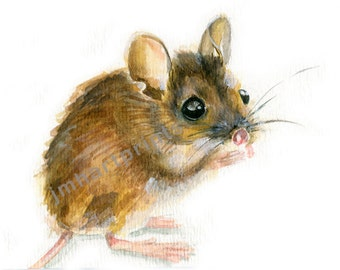 Watercolor Field Mouse, Field Mouse Print