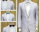 Vintage Men's 1970s WHITE 2 PIECE SUIT -- Mens Size 39