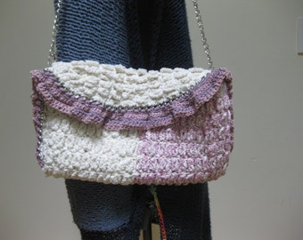 crocheted white/pink purse with chain