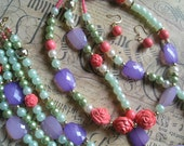 ISABEL 3 Piece Beaded Jewelry Set in Light Green, Coral and Purple