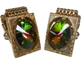 Watermelon rivoli cuff links, gold mesh rectangular wrap style, Swarovski crystal green and pink stone