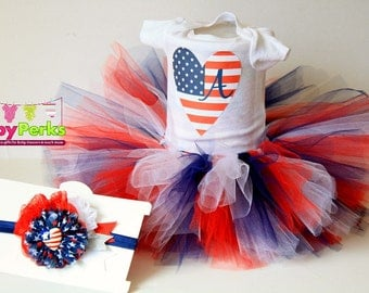 Baby Girl 4th of July outfit -4th of July leg wamers - personalized baby - 4th of July Headband - baby girl outfit