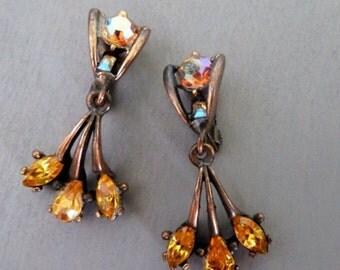 Vintage Hollycraft Rhinestone Earrings Dangle Earrings orange AB Designer Jewelry