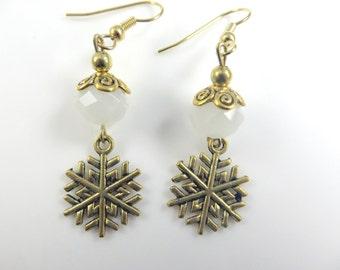 White snowflake earrings