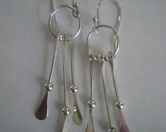 Handmade Sterling Silver Dangly Earrings