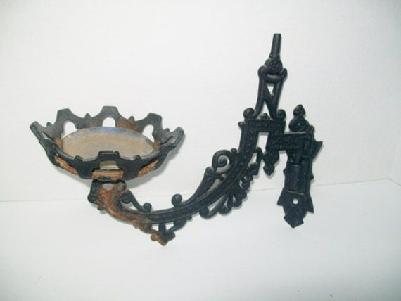 Iron Wall Brackets For Lamps : Antique Victorian Oil Lamp Cast Iron Wall Mount Lamp Movable