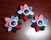 CUSTOM Handmade Girl Guide Flower representing All Branches - with Girl Guide Button and Vintage GGC Striped Uniform Fabric
