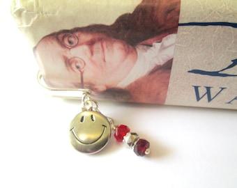 HAPPY SMILEY FACE vintage button bookmark. Waterbury vintage silver button