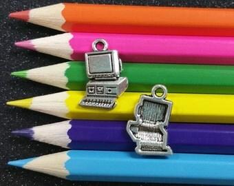 10 PCS - Retro Computer School Tech Nerd Silver Charm Pendant C0128