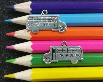 5 PCS - School Bus Teacher Appreciation Silver Charm Pendant C0553