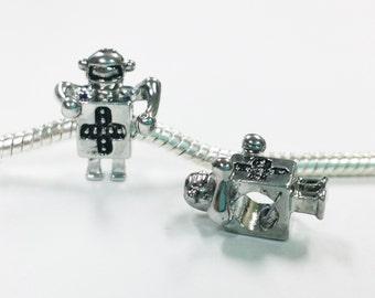 3 Beads - Robot Outer Space Silver European Bead Charm E1420