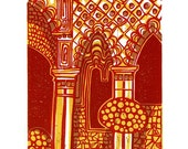 Alhambra Arches Linocut Hand Pulled Original Relief Print Variable Edition of 15 (red)