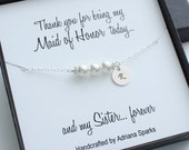 Personalized Maid of Honor Gifts, Personalized Pearl Bracelet, Initial Bracelet, Thank you gift for bridesmaid, Maid of Honor Thank you Card