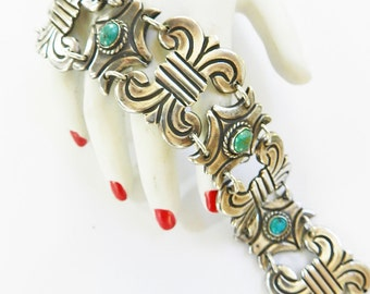 Designer 1940s Mexican Sterling and Turquoise Bracelet