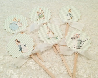 Gender Neutral Peter Rabbit cupcake picks toppers-First Birthday or Baby Shower Decorations-Set of 12