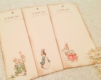 Peter Rabbit Wish Tags for Baby-It's a Girl Wishes for Baby Cards Tags-Set of 12