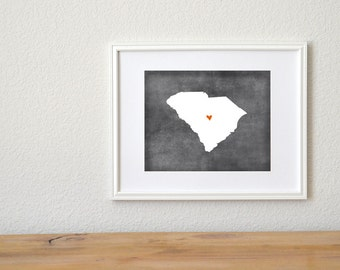 South Carolina Chalkboard State Map Customizable Art Print