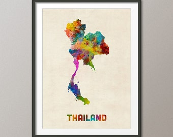 Thailand Watercolor Map, Art Print (2023)