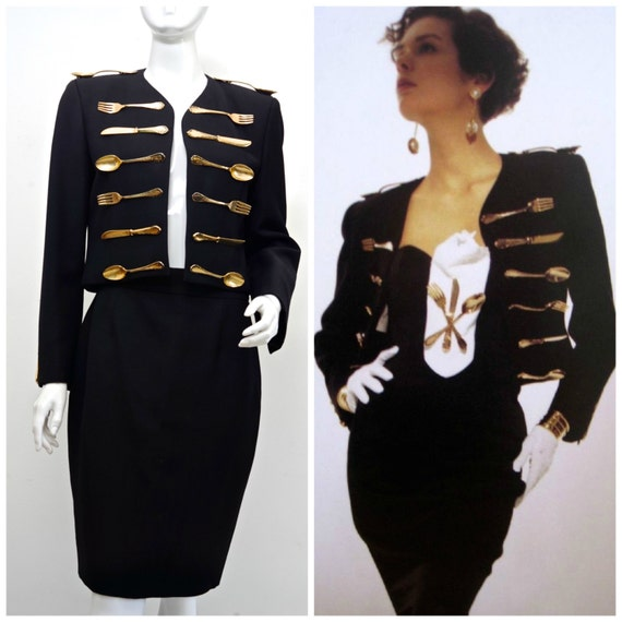 Vintage Iconic MOSCHINO Couture Dinner Jacket Skirt Suit