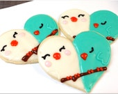 Sugar Cookie Love Bird Heart Wedding Cookies Iced Decorated Cookie Shower Favor Engagement Party Gift
