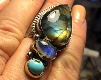 Labradorite, moonstone and turquoise ring size 8 . Can be sized