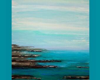 "Art, Abstract, Beach, Abstract Painting Original Art on Canvas by Ora Birenbaum Titled: Caribbean Coast 30x40x1.5"""