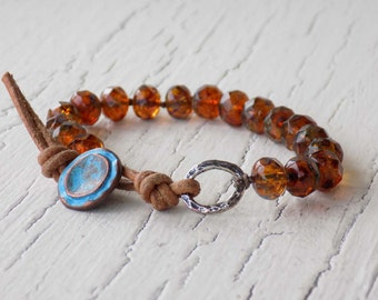 Amber Knotted Bracelet, Leather Bracelet, Orange Beaded Knot Bracelet, Blue Button Bracelet, Orange and Blue Jewelry, Boho Bohemian Chic